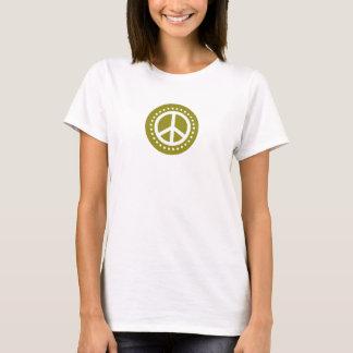 Camiseta Sinal de paz das bolinhas da verde azeitona
