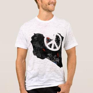 Camiseta Sinal de paz na moda de Líbia com mapa líbio