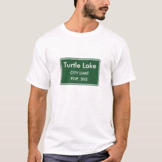 Camiseta Sinal do limite de cidade de North Dakota do lago