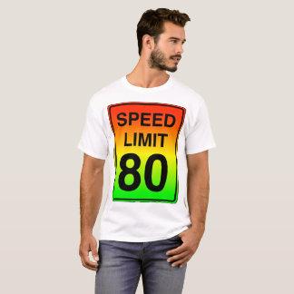 Camiseta Sinal do limite de velocidade 80 com cores do