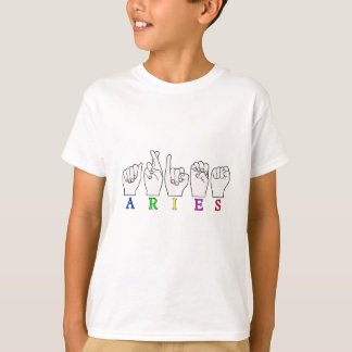 CAMISETA SINAL DO NOME DO ZODÍACO DO ARIES FINGERSPELLED