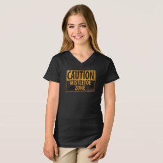 Camiseta Sinal do perigo do beijo do Natal da zona do visco