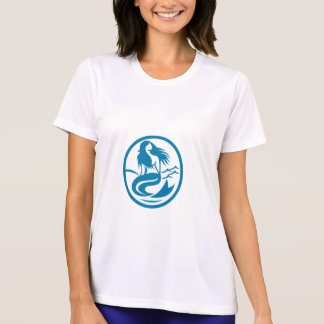 Camiseta Sirene da sereia que senta retro oval do canto