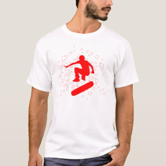 Camiseta skateboarding alto-fi. bolhas & círculos vermelhos