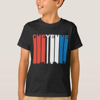 Camiseta Skyline branca e azul vermelha de Cheyenne Wyoming