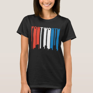 Camiseta Skyline branca e azul vermelha de Fort Worth Texas