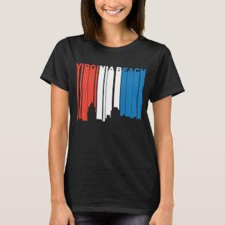 Camiseta Skyline branca e azul vermelha de Virginia Beach