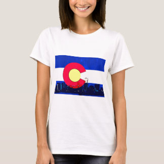 Camiseta Skyline brilhante da bandeira de Denver Colorado