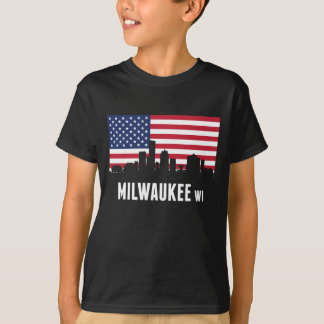 Camiseta Skyline de Milwaukee da bandeira americana