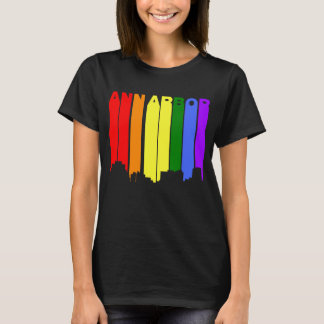 Camiseta Skyline do arco-íris do orgulho gay de Ann Arbor