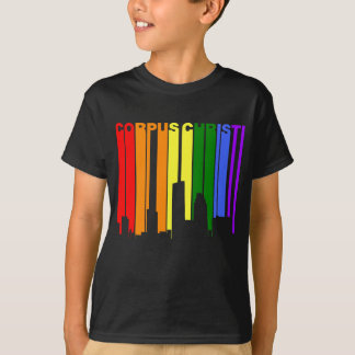 Camiseta Skyline do arco-íris do orgulho gay de Corpus