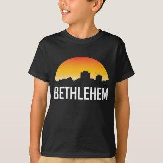 Camiseta Skyline do por do sol de Bethlehem Pensilvânia