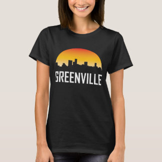 Camiseta Skyline do por do sol de Greenville South Carolina