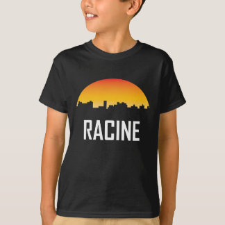 Camiseta Skyline do por do sol de Racine Wisconsin