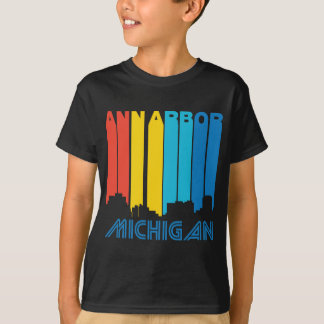 Camiseta Skyline retro de Ann Arbor Michigan do estilo dos