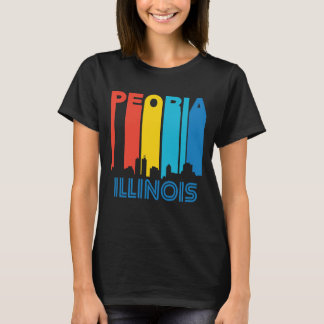 Camiseta Skyline retro de Peoria Illinois do estilo dos