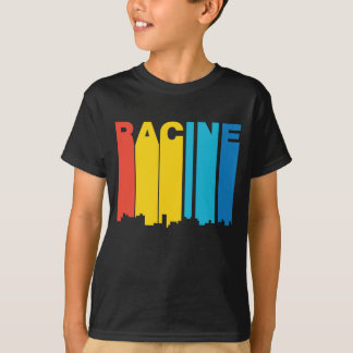 Camiseta Skyline retro de Racine Wisconsin do estilo dos
