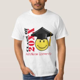 Camiseta Smiley amarelo clássico com um boné de formatura