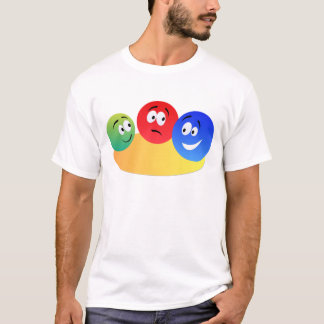 Camiseta Smiley colorido do divertimento azul, vermelho e
