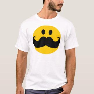 Camiseta Smiley do bigode (cor customizável do fundo)