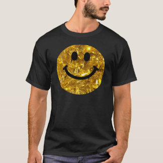 Camiseta Smiley Sparkly de Bling do ouro do falso
