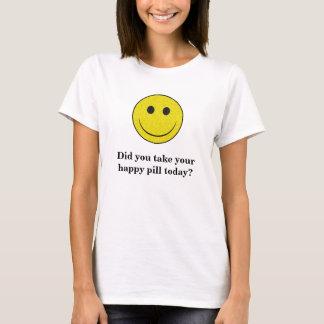 Camiseta SmileyFace, você tomou seu comprimido feliz hoje?