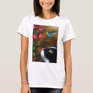 Camiseta Smoking do gato 571 com colibri