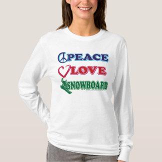Camiseta Snowboard do amor da snowboarding/paz