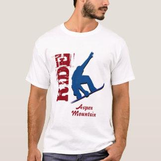 Camiseta Snowboard vermelho da montanha de Aspen do passeio