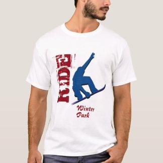 Camiseta Snowboard vermelho do parque do inverno do passeio
