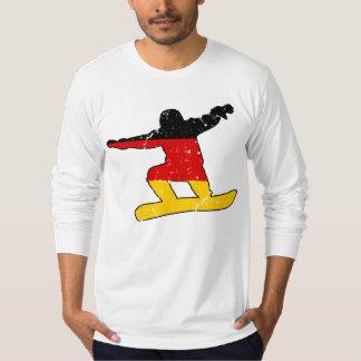 Camiseta SNOWBOARDER alemão da bandeira (preto)