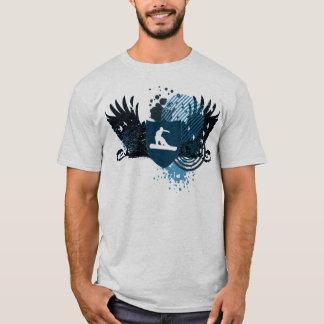 Camiseta snowboarding de alta fidelidade. seguido no azul