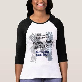 Camiseta Sob as senhoras do galão do ônibus 3/4 de Raglan