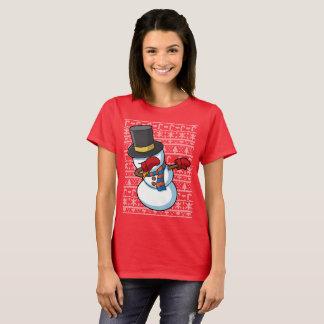 Camiseta Solha de toque ligeiro do Natal do boneco de neve