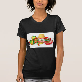 Camiseta Sombrero mexicano Maracas e pimenta
