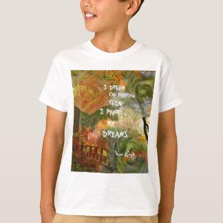 Camiseta Sonho de rosas cinzentos e alaranjados