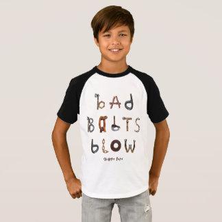 Camiseta Sopro mau dos parafusos - Raglan curto da luva do