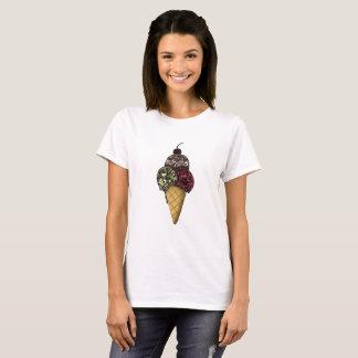 Camiseta Sorvete do verão com a cereja no Tshirt superior