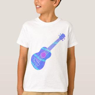 Camiseta Spatter azul da pintura do Ukulele
