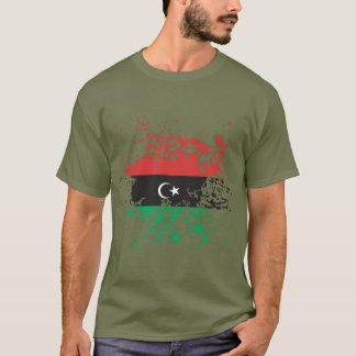 Camiseta Splatter da tinta da bandeira de Líbia
