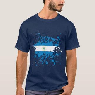 Camiseta Splatter da tinta da bandeira de Nicarágua