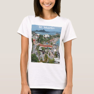 Camiseta St Martin e foto da baía de Marigot