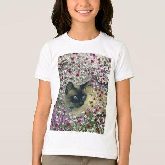 Camiseta Stella nas flores II, gato Siamese de creme do