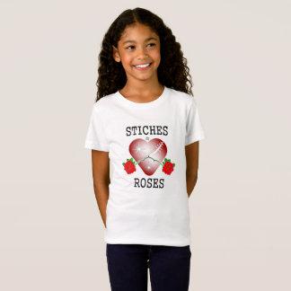 Camiseta stiches & letras pretas dos rosas