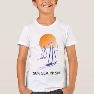 "Camiseta Sun, iate litorais da vela do mar ""N"""