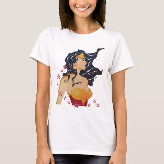 Camiseta Sunburst retro do perfil da mulher maravilha