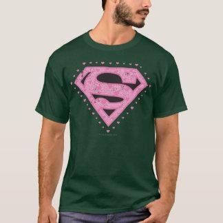 Camiseta Supergirl afligiu o preto e o rosa do logotipo