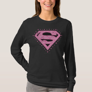 Camiseta Supergirl afligiu o preto e o rosa do logotipo
