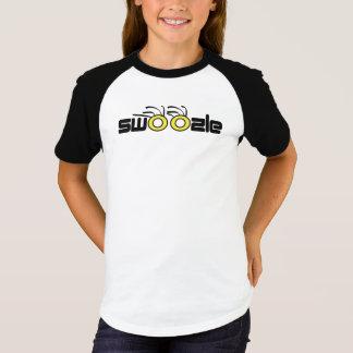 Camiseta Swoozle olha o t-shirt curto do Raglan da luva das