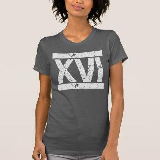 Camiseta T AFLIGIDO do aniversário dos NUMERAIS romanos 16o